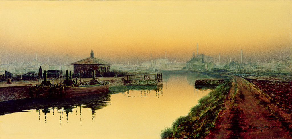 Detail of Knostrop Cut, Leeds, Sunday Night, 1893 by John Atkinson Grimshaw