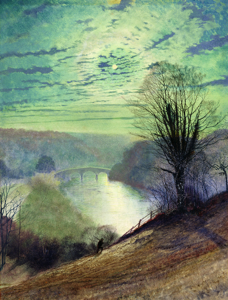 Detail of On the Tees, near Barnard Castle, c.1868 by John Atkinson Grimshaw