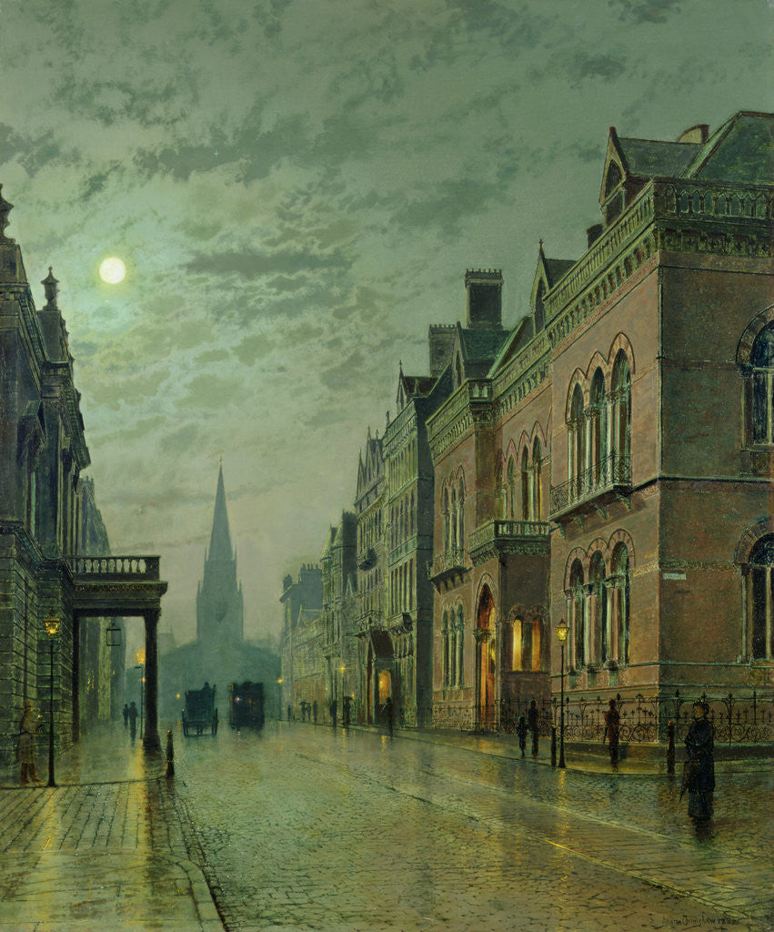 Detail of Park Row, Leeds, 1882 by John Atkinson Grimshaw
