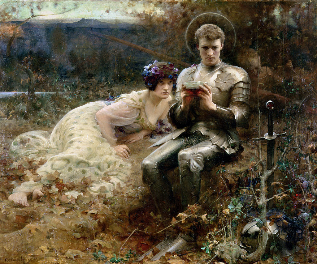 Detail of The Temptation of Sir Percival, 1894 by Arthur Hacker