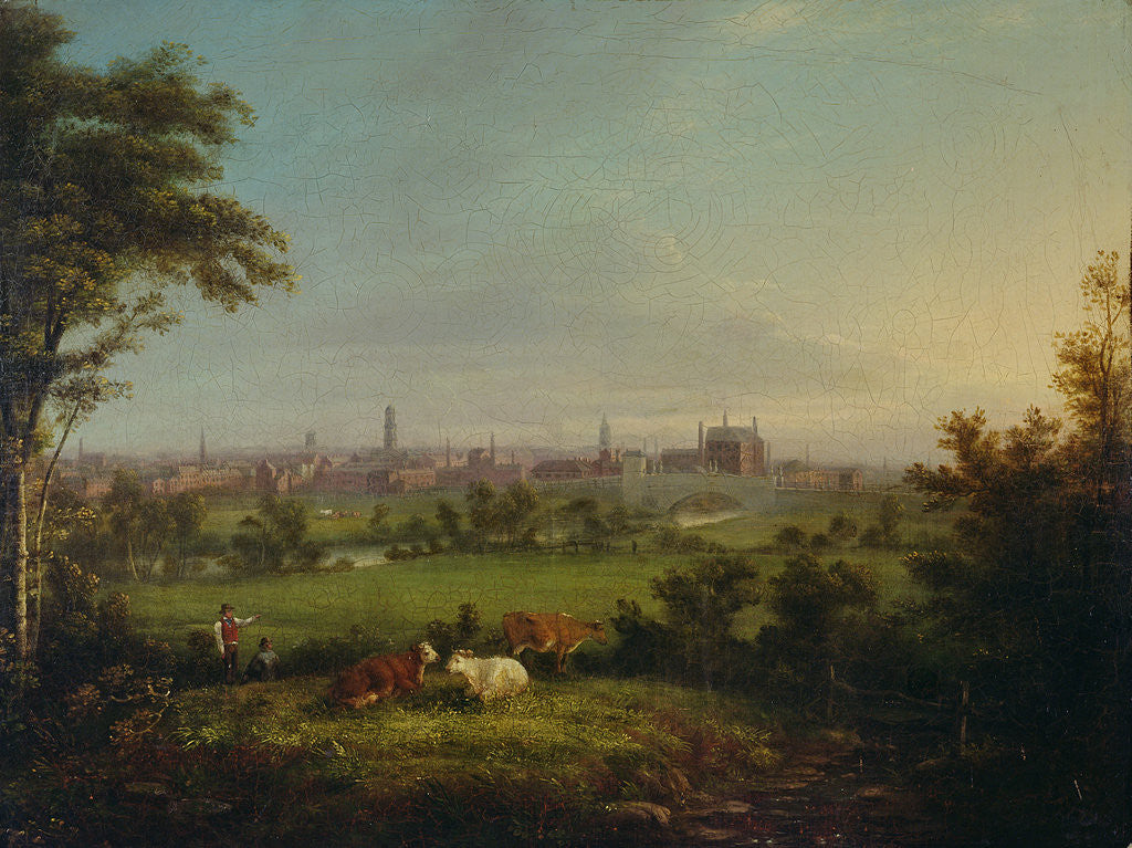 Detail of Leeds from the Meadows, c.1825 by Joseph Rhodes