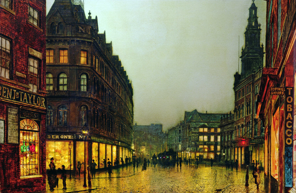 Detail of Boar Lane, Leeds, 1881 by John Atkinson Grimshaw