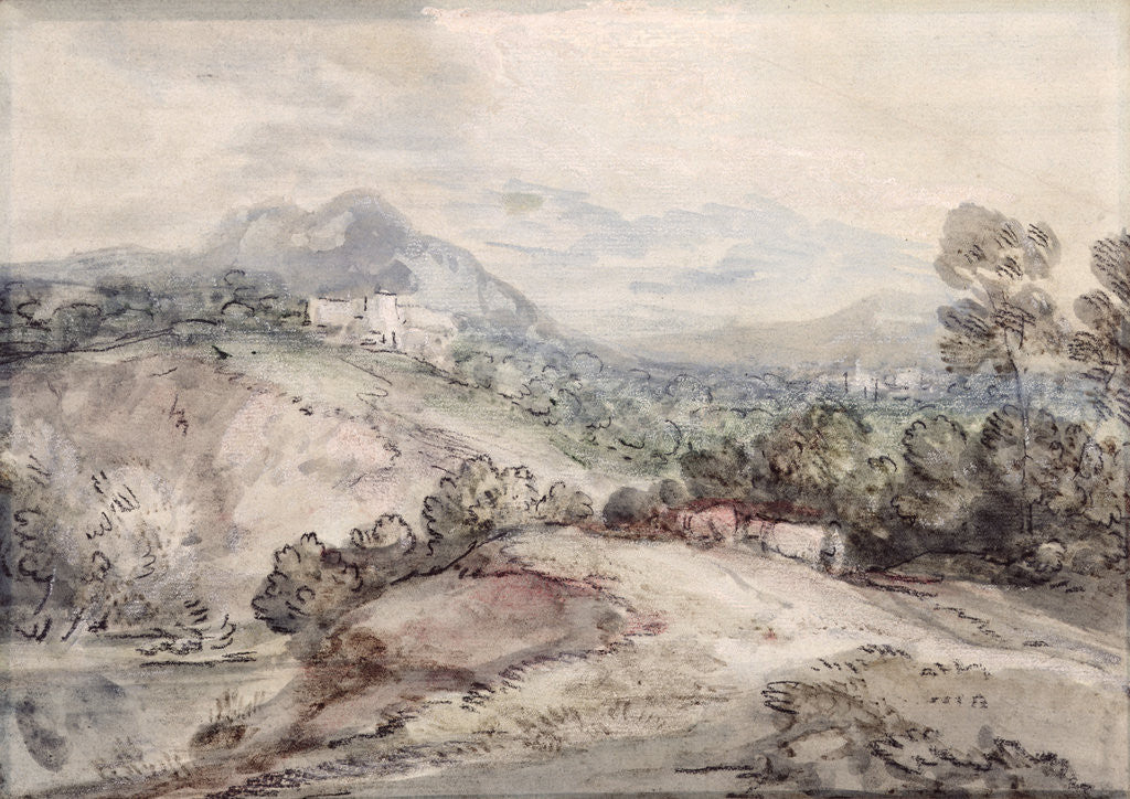 Detail of A Hilly Landscape, 1785 by Thomas Gainsborough