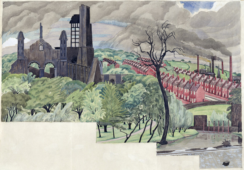 Detail of Millworkers Landscape, c.1920 by John Northcote Nash