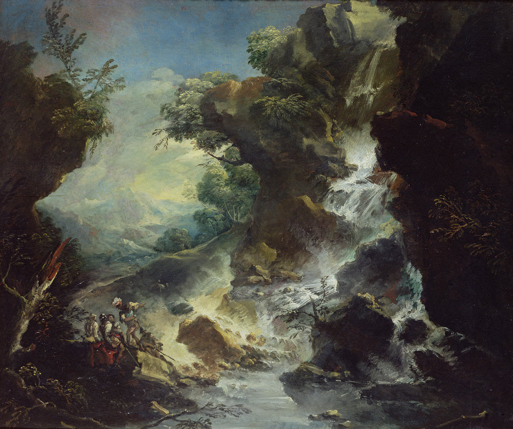 Detail of Landscape with Waterfall, c.1700-07 by Antonio Marini