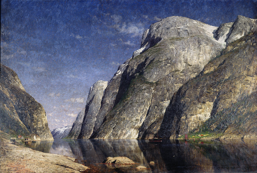 Detail of The Sognefjord, Norway, c.1885 by Adelsteen Normann