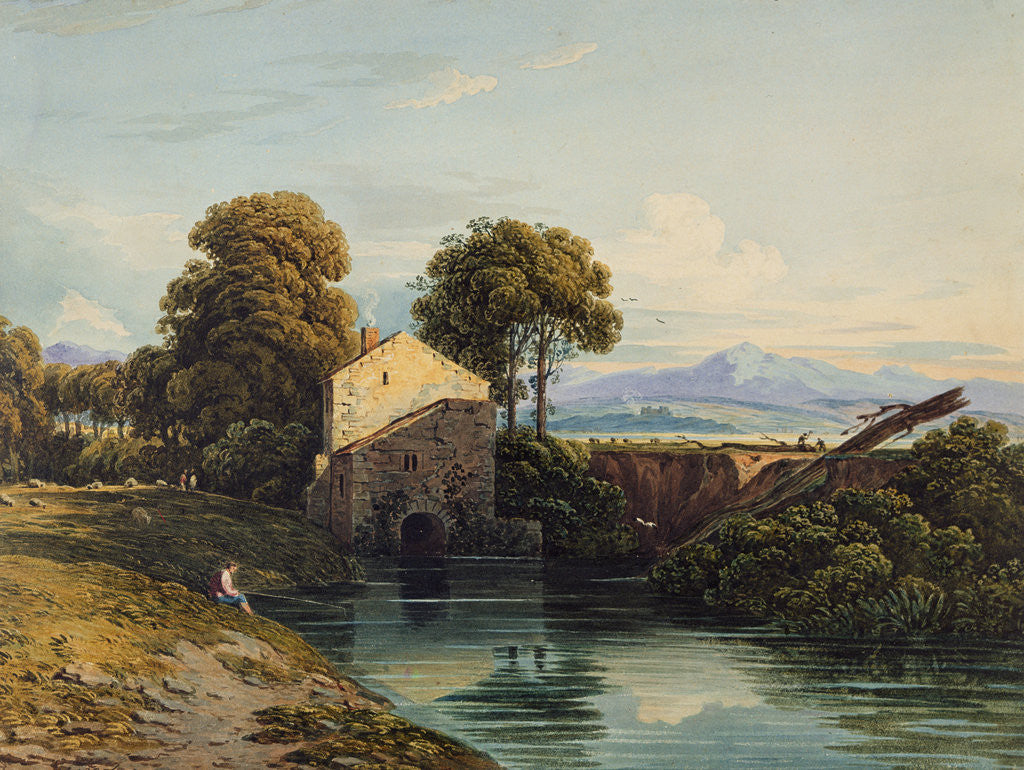Detail of Watermill with Distant Castle and Hills, 1822 by John Varley