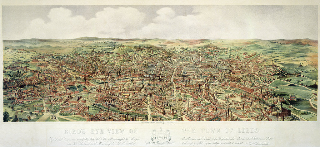 Detail of Bird's-Eye View of Leeds, pub. by Frank Pettingell and Brownlow T. Thompson, c.1880 by English School