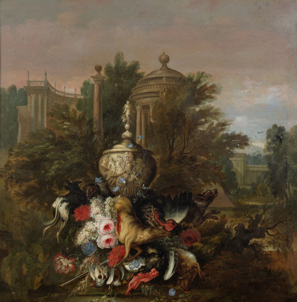 Detail of Dead Game and Flowers, 1708 by Pieter Casteels