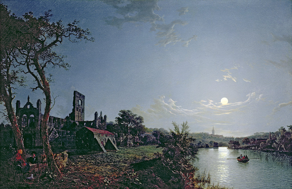 Detail of Morning with a View of Kirkstall Abbey by Henry Pether