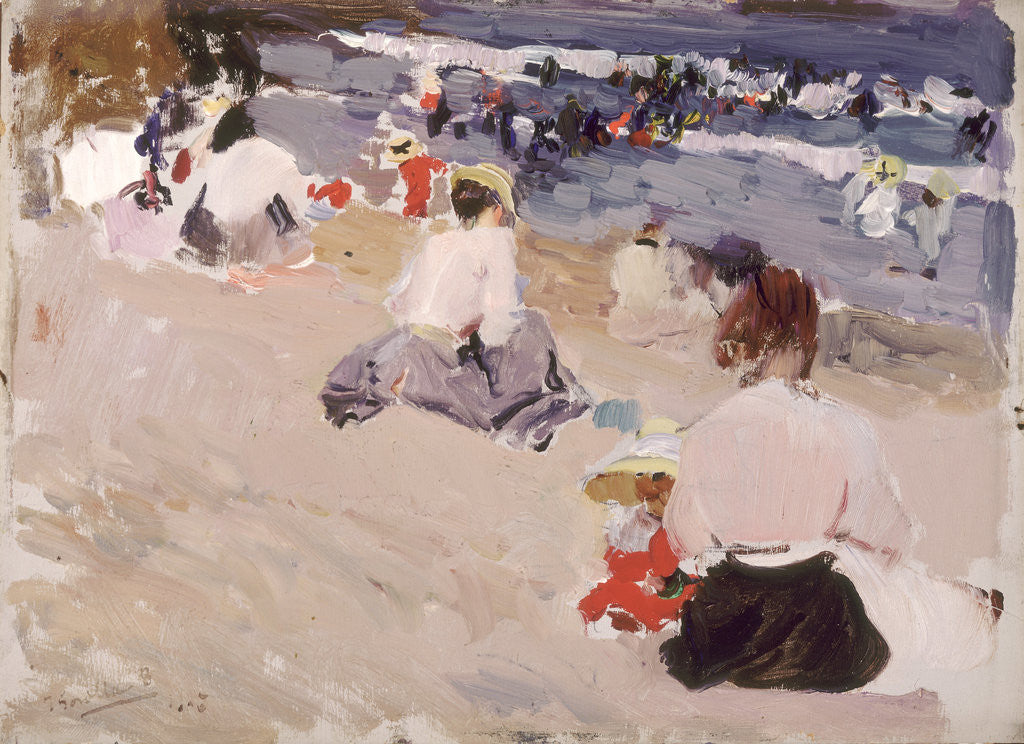 Detail of People Sitting on the Beach, 1906 by Joaquin Sorolla y Bastida