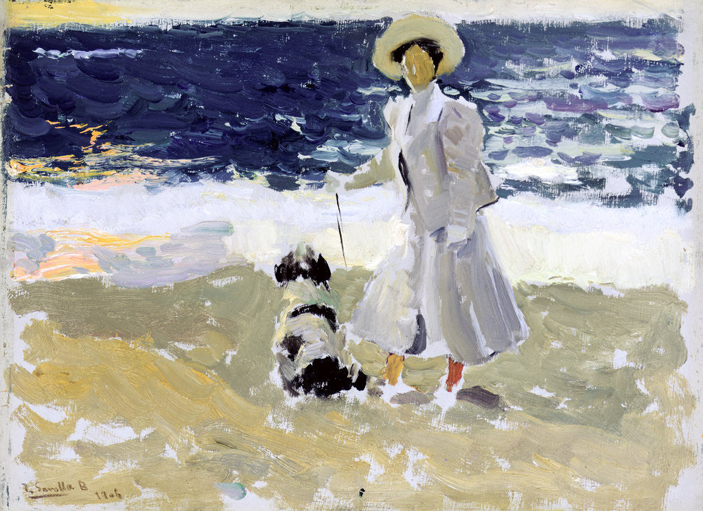 Detail of Lady and Dog on the Beach, 1906 by Joaquin Sorolla y Bastida