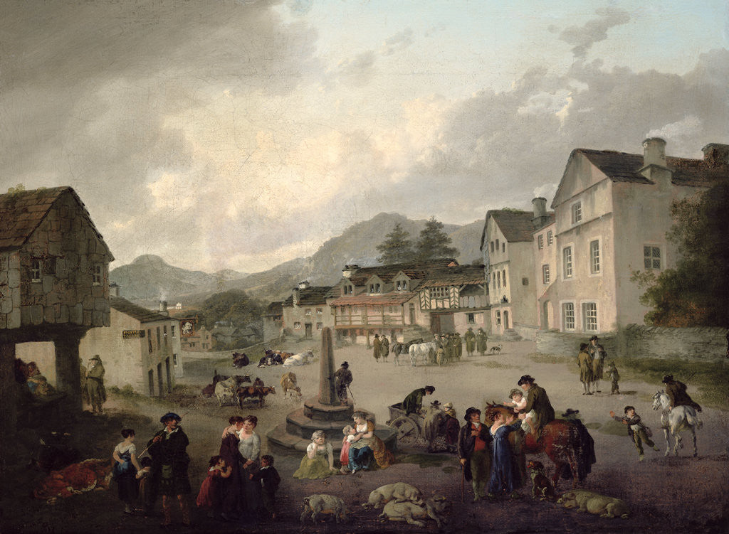 Detail of The Market Place, Ambleside, 1817 by Julius Caesar Ibbetson