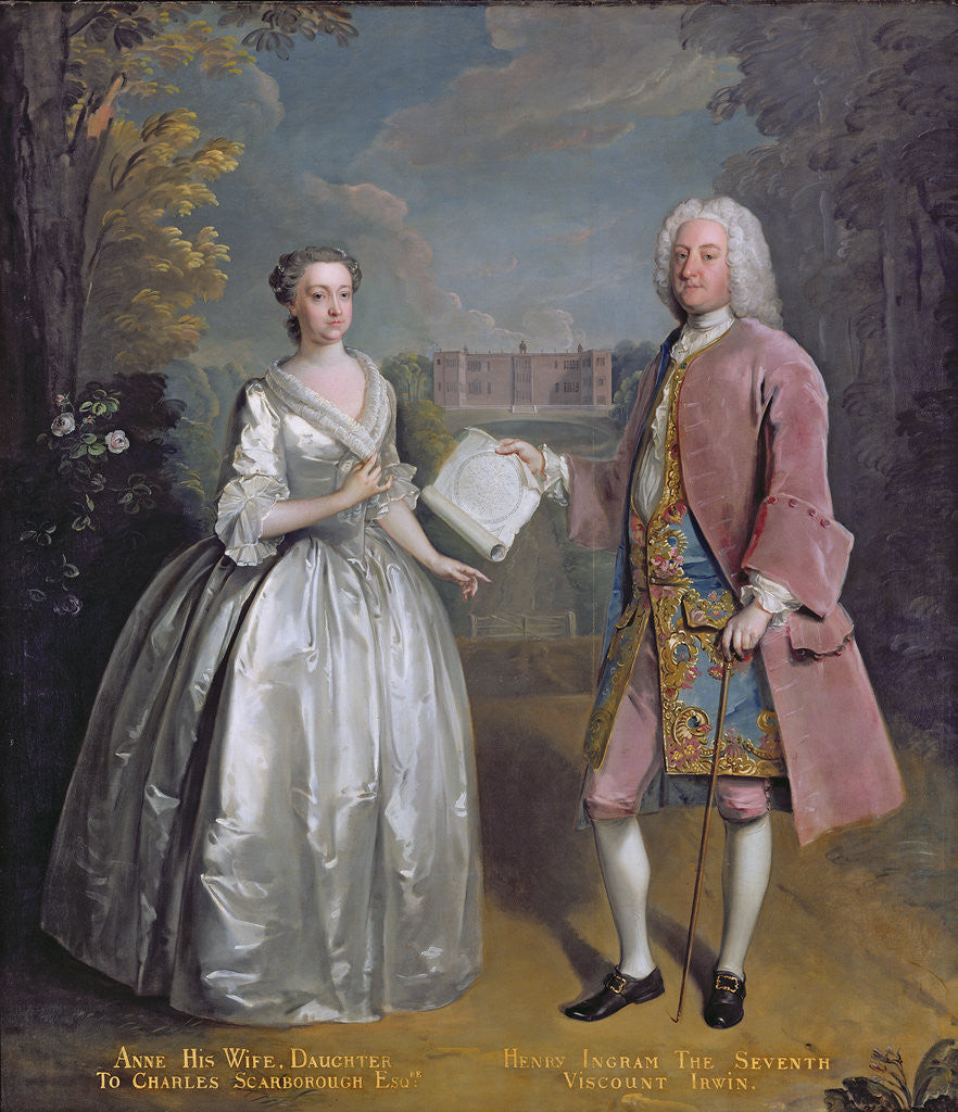 Detail of Portrait of Henry 7th Viscount Irwin and his Wife Anne by Philippe Mercier