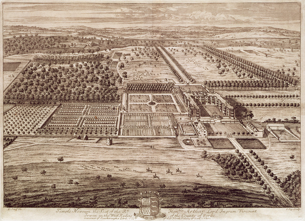 Detail of Prospect of Temple Newsam House from the East, engraved by Jan Kip by Leonard Knyff