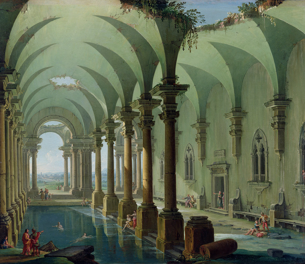 Detail of Architectural Fantasy by Antonio Joli