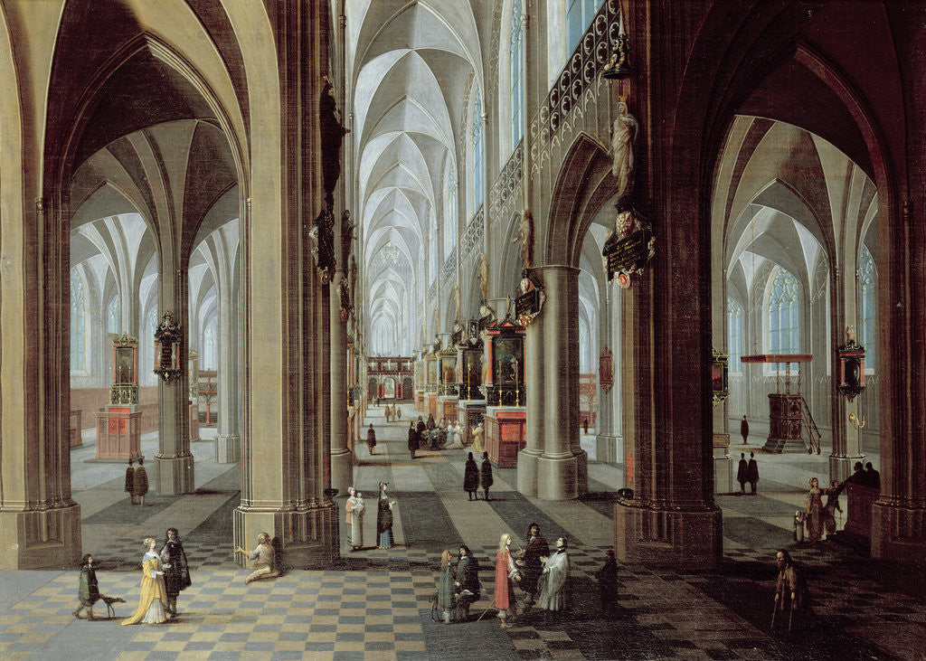 Detail of Interior of Antwerp Cathedral by Pieter the Younger Neeffs