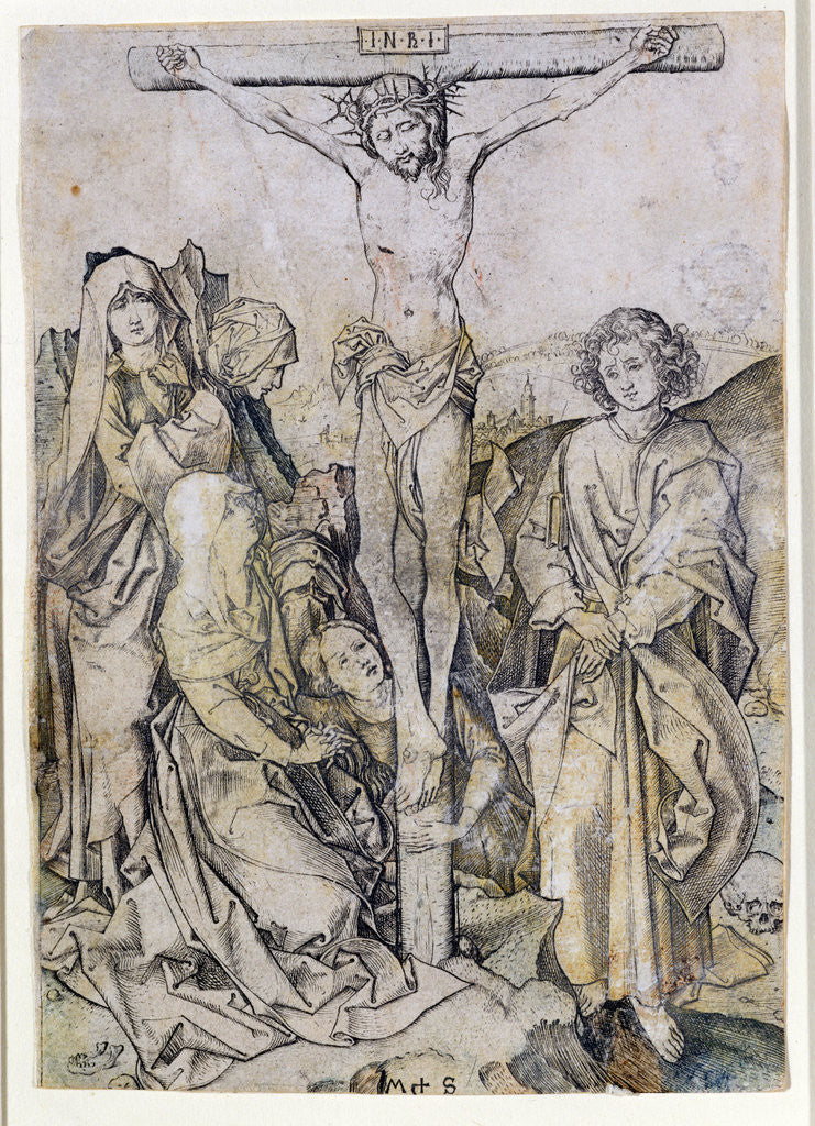 Detail of Christ on the Cross, with the Virgin and St. John by Martin Schongauer