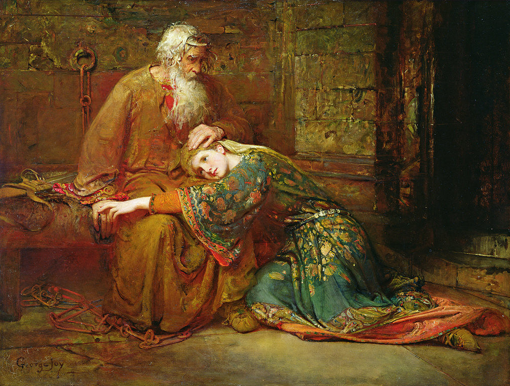 Detail of Cordelia comforting her father, King Lear, in prison, 1886 by George William Joy