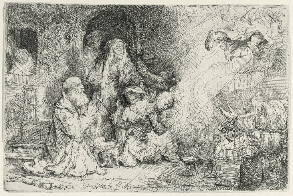 Detail of The Angel Departing from the Family of Tobias by Rembrandt Harmensz. van Rijn