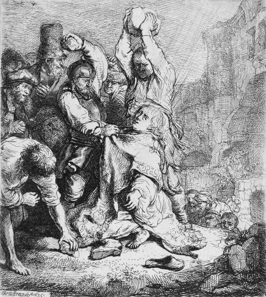 Detail of Stoning of St. Stephen by Rembrandt Harmensz. van Rijn