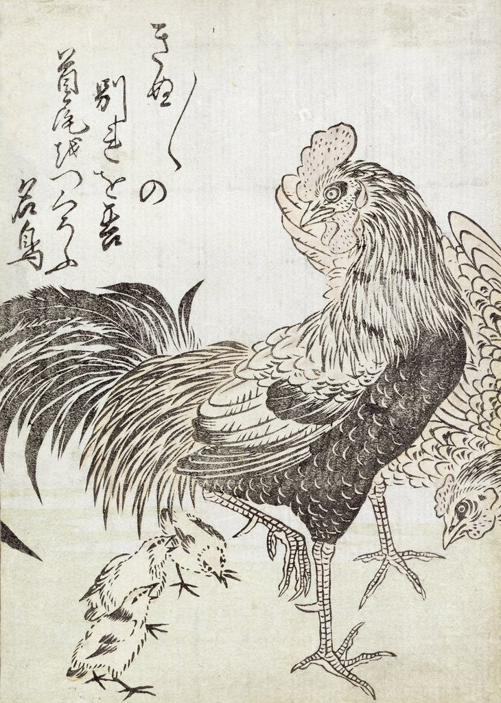 Detail of Hen, Cock and Chickens by Japanese School