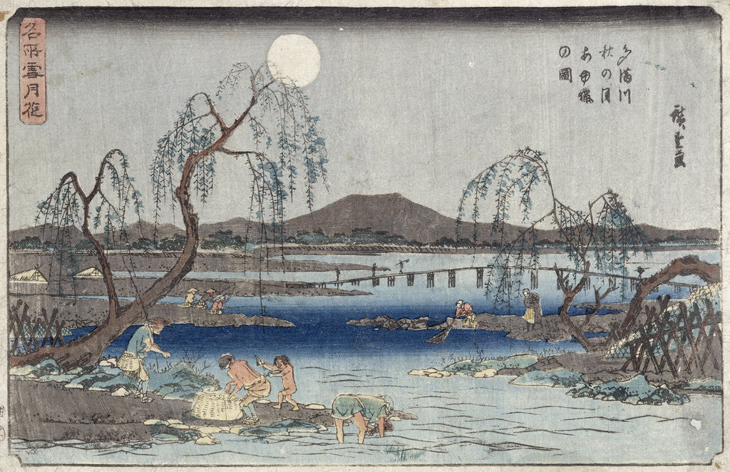 Detail of Catching Fish by Moonlight on the Tama River, from a series 'Snow, Moon and Flowers' by Ando or Utagawa Hiroshige