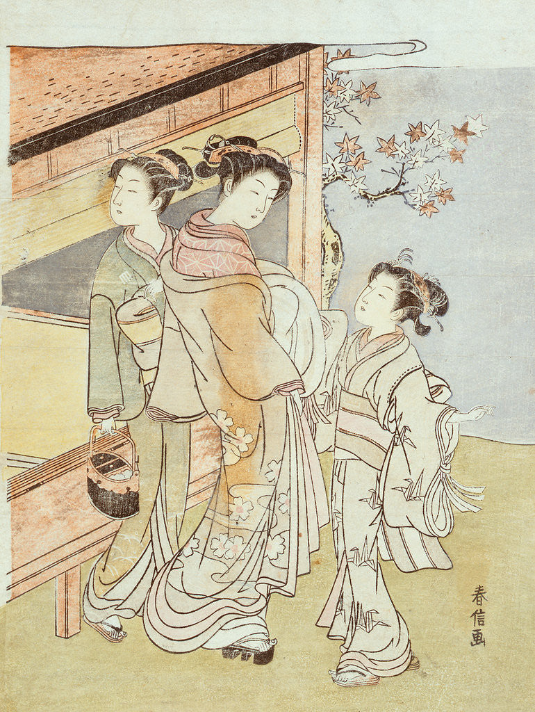 Detail of A Lady and Her Attendant Meet a Messenger by Suzuki Harunobu