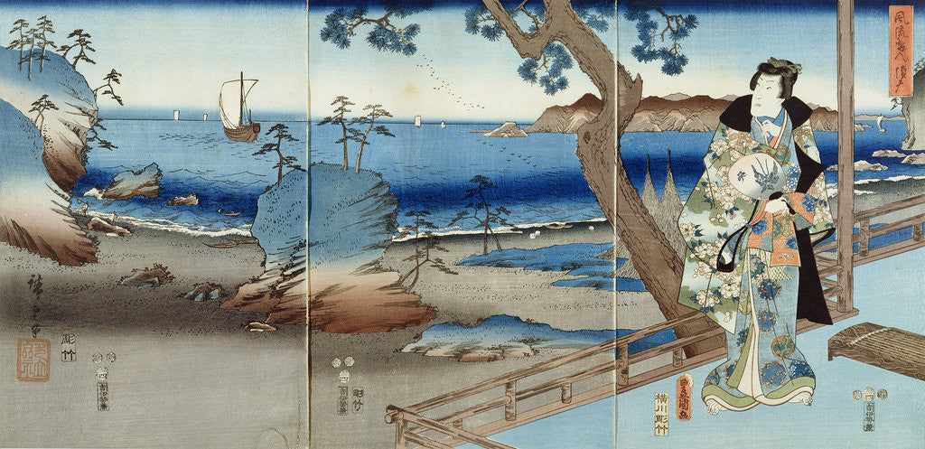 Detail of Prince Genji watching at the Suma Beach by Hiroshige