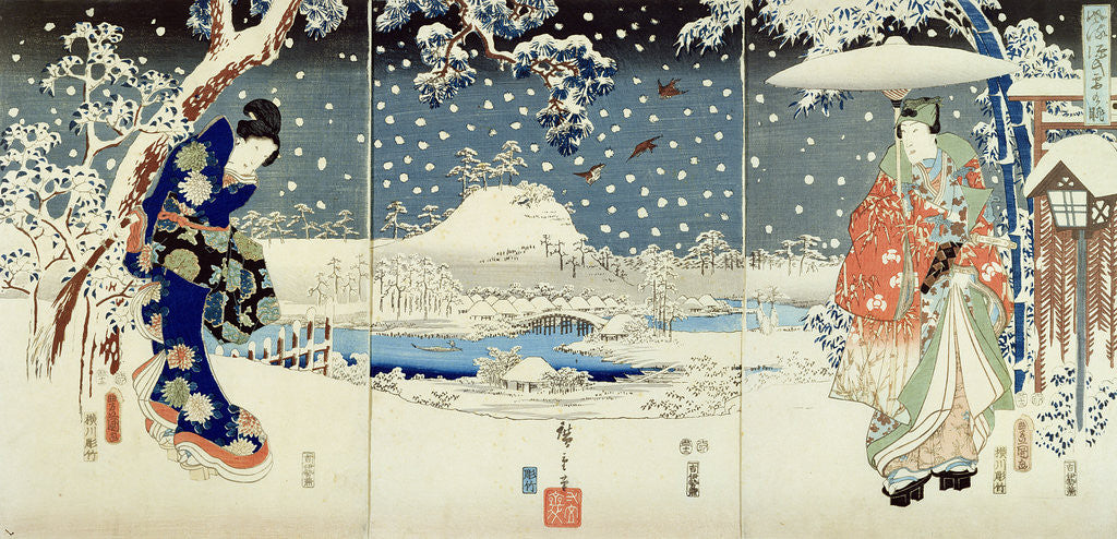 Detail of Snow Scene in the Garden of a Daimyo by Hiroshige