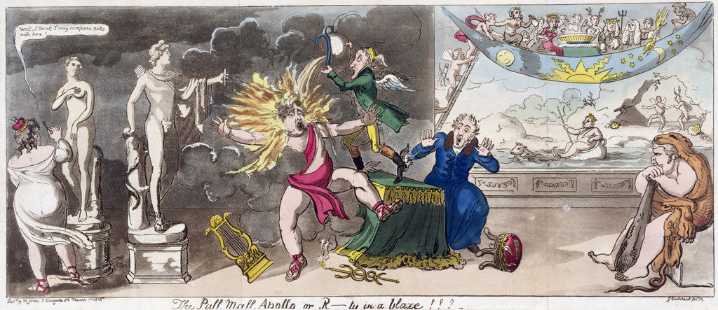 Detail of The Pall Mall Apollo or, R...ty in a blaze!!! 1816 by George Cruikshank