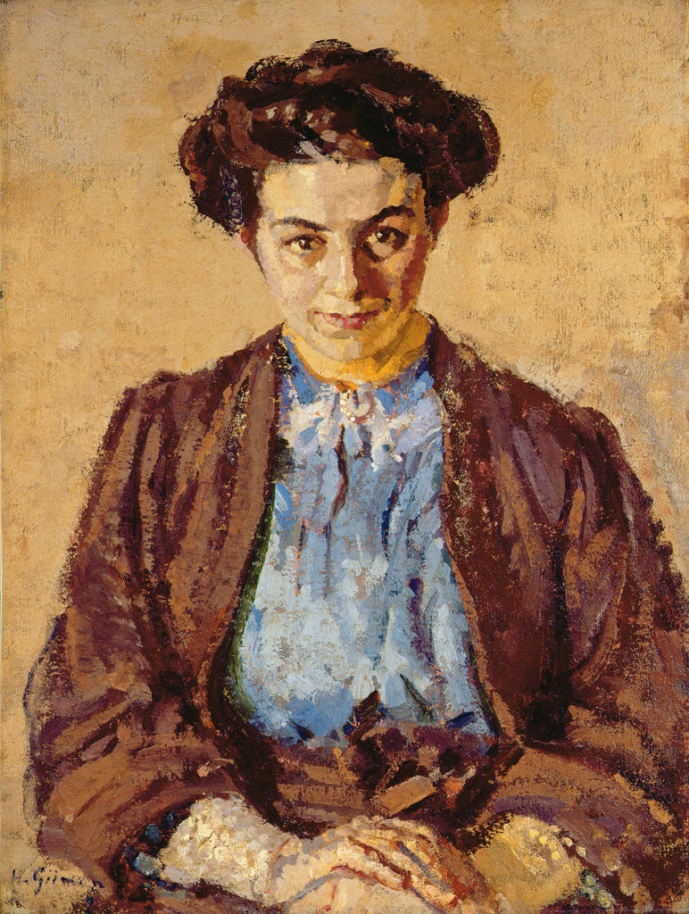 Detail of The Blue Blouse, Portrait of Elene Zompolides by Harold Gilman