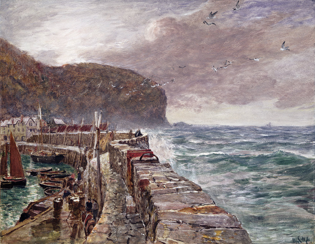 Detail of Clovelly Pier, 1897 by Charles Napier Hemy