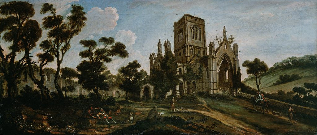 Detail of South View of Kirkstall Abbey, c.1738 by Johann Baptiste Bouttats
