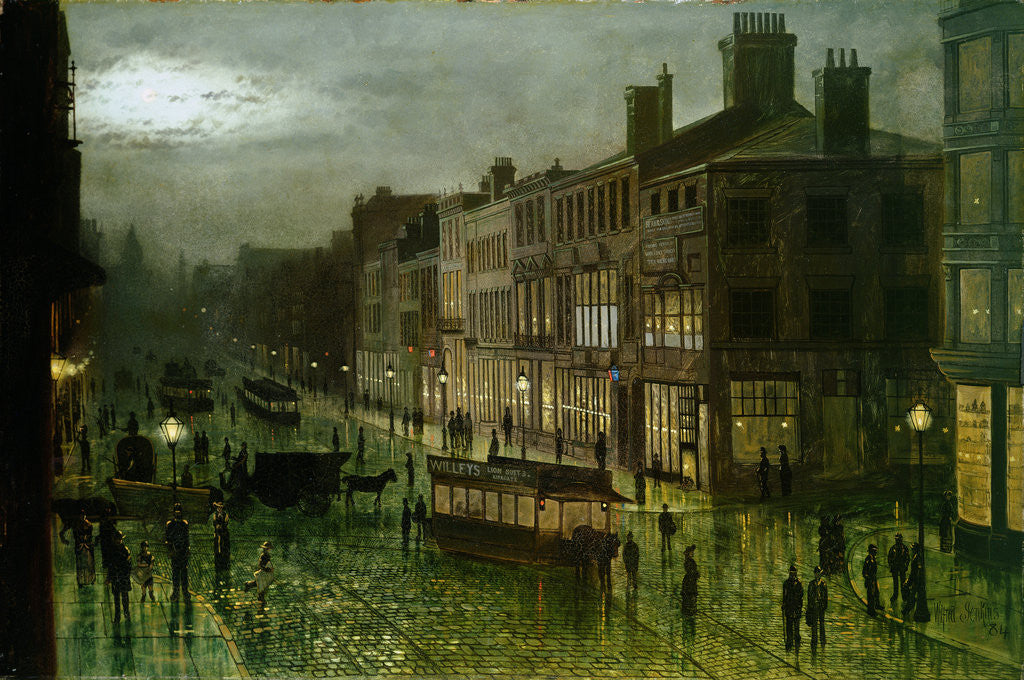 Detail of Briggate, Leeds, 1884 by Wilfred Jenkins