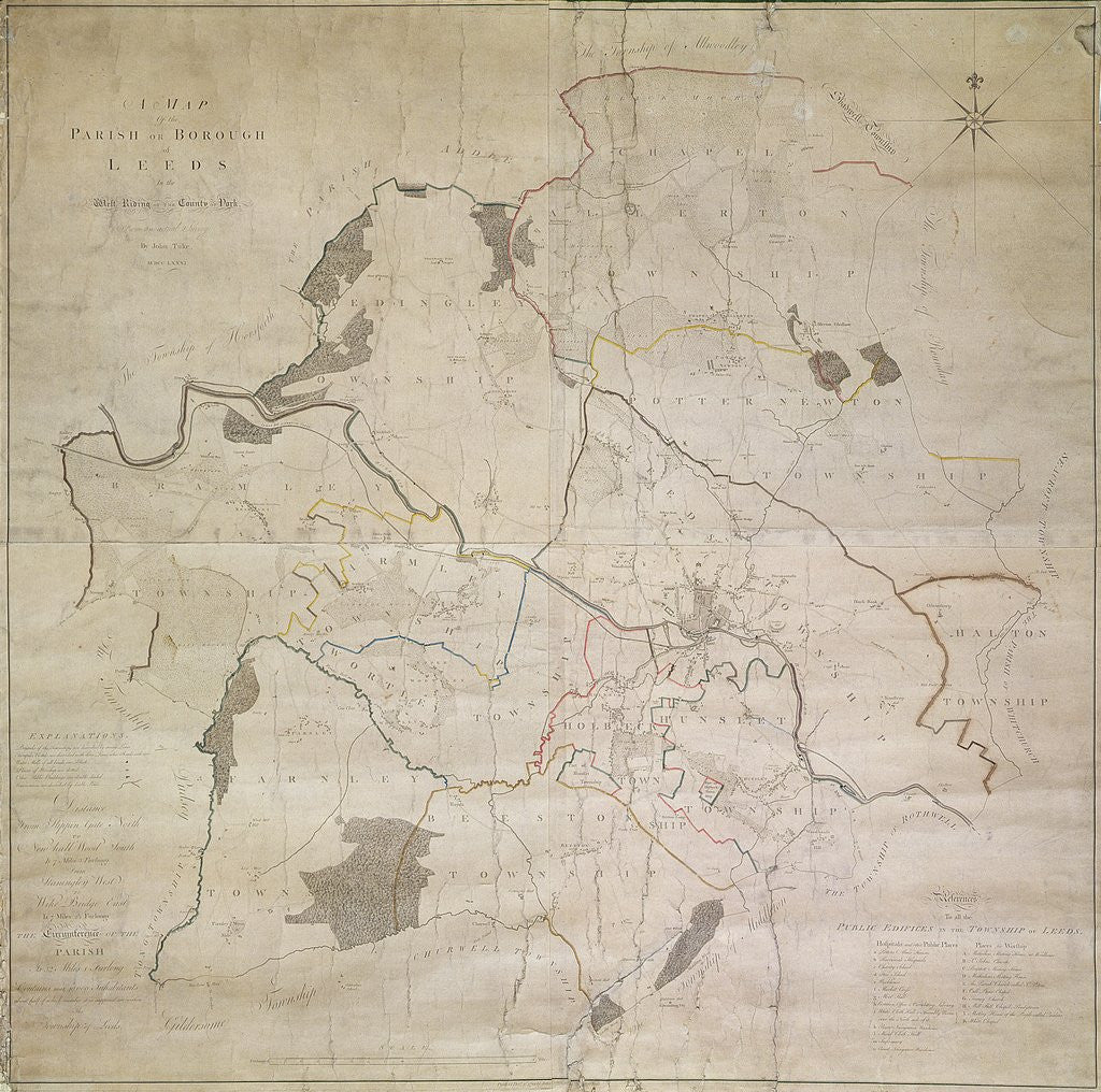Detail of Map of Leeds, surveyed by John Tuke, 1781 by English School