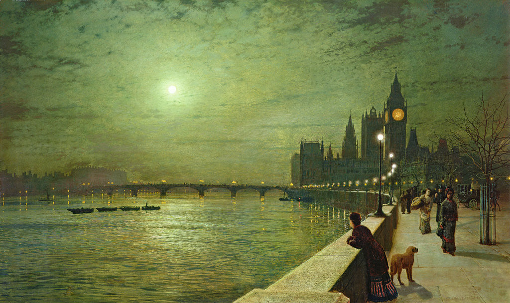 Detail of Reflections on the Thames, Westminster, 1880 by John Atkinson Grimshaw
