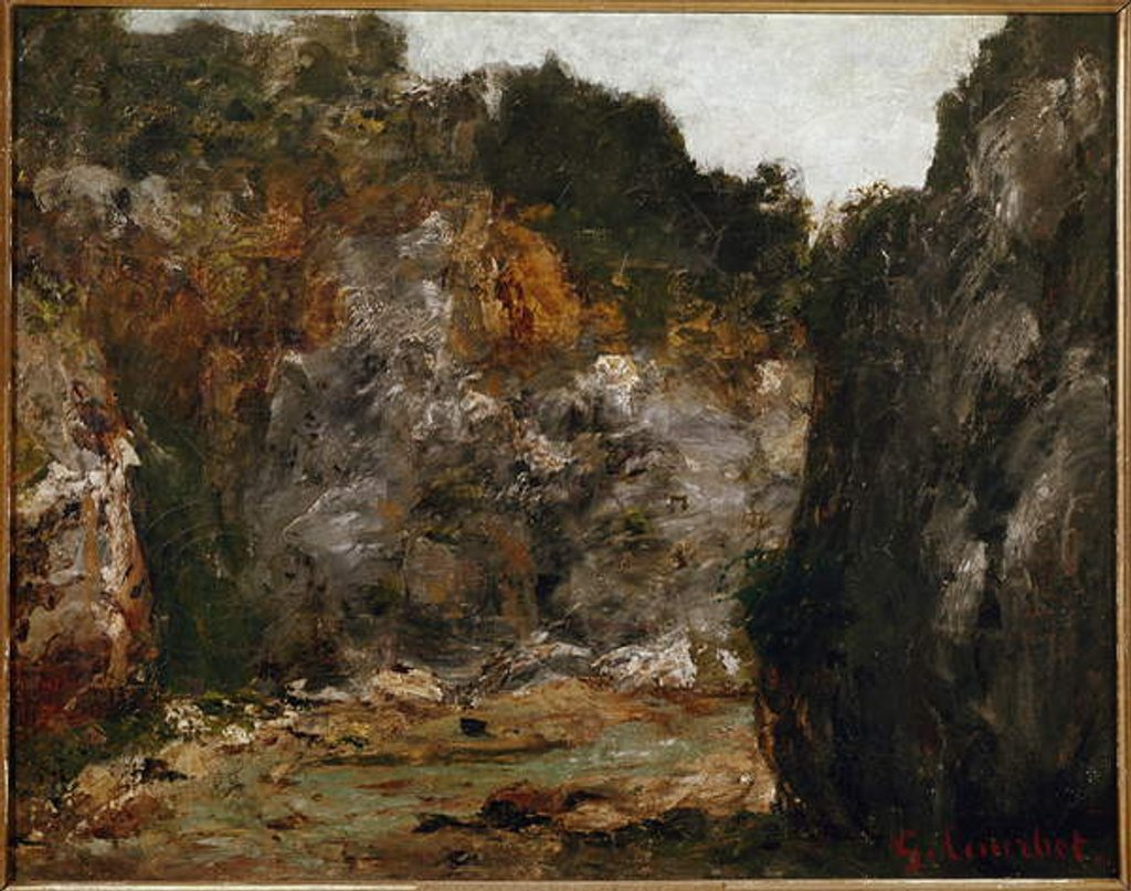 Detail of View of a defile Gorge by Gustave Courbet