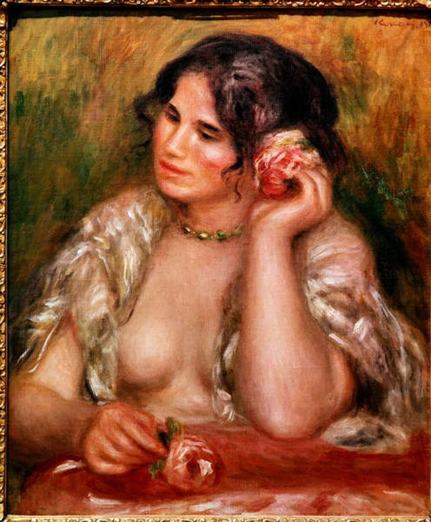 Detail of Gabrielle has the rose by Pierre Auguste Renoir