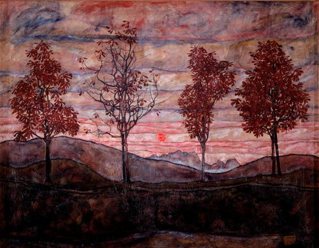 Detail of Four trees by Egon Schiele