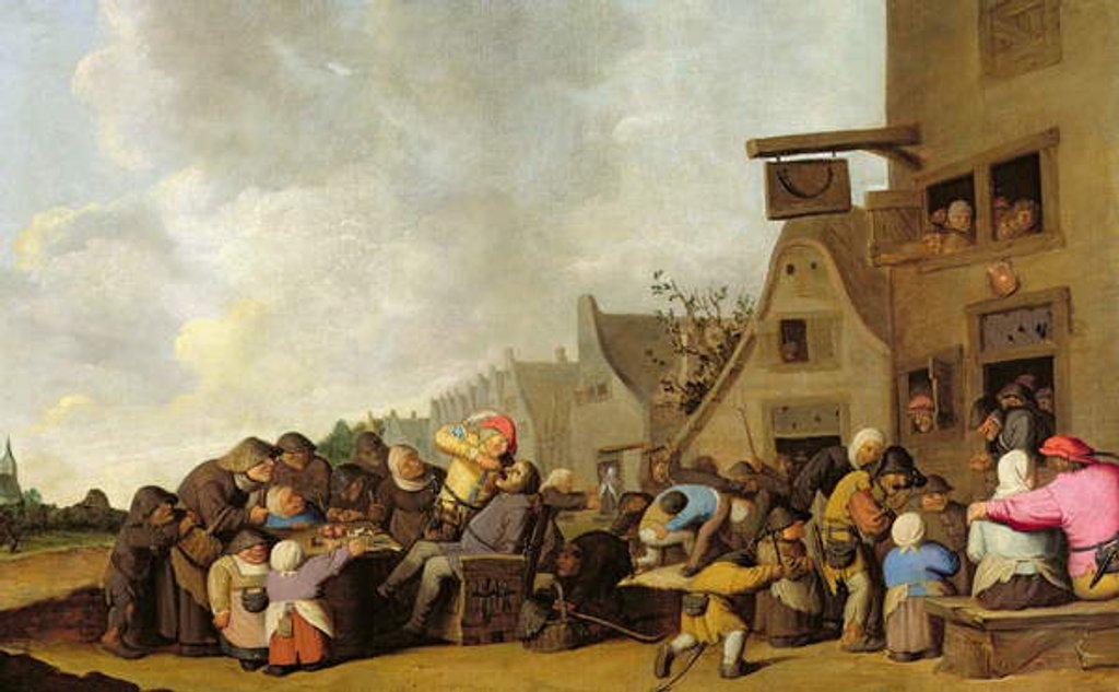 Detail of A Village Scene with a Dentist Pulling Teeth and Peasants Fighting Outside a Tavern, c.1630-40 by Peter de Bloot