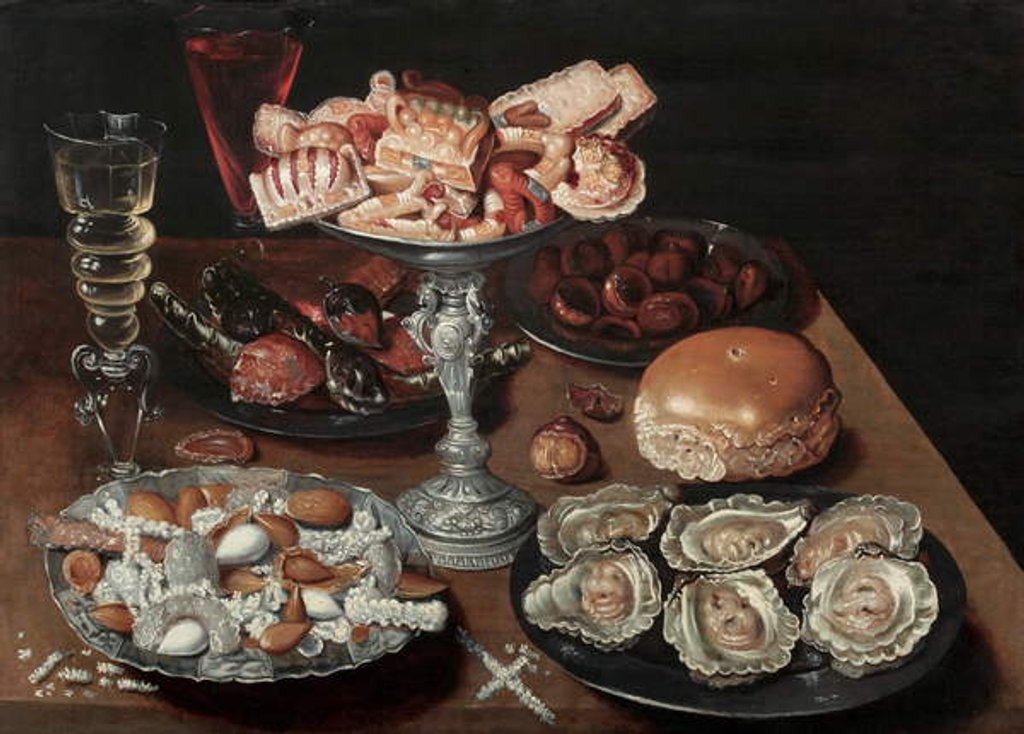 Detail of Almonds, Oysters, Sweets, Chestnuts, and Wine on a Wooden Table, c.1605-30 by Osias the Elder Beert
