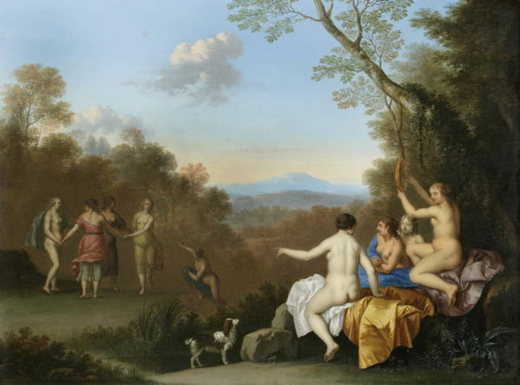 Detail of Nymphs Dancing and Making Music by a Pool on a Wooded Hilltop with the Apulian Shepherd by Daniel Vertangen