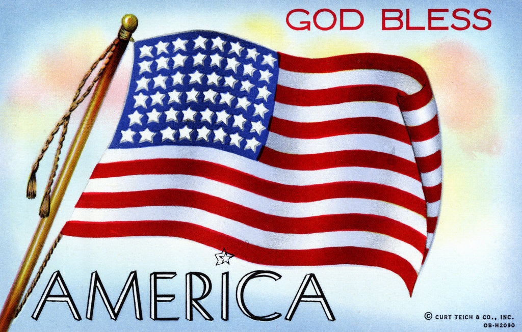 Detail of God Bless America Postcard by Corbis