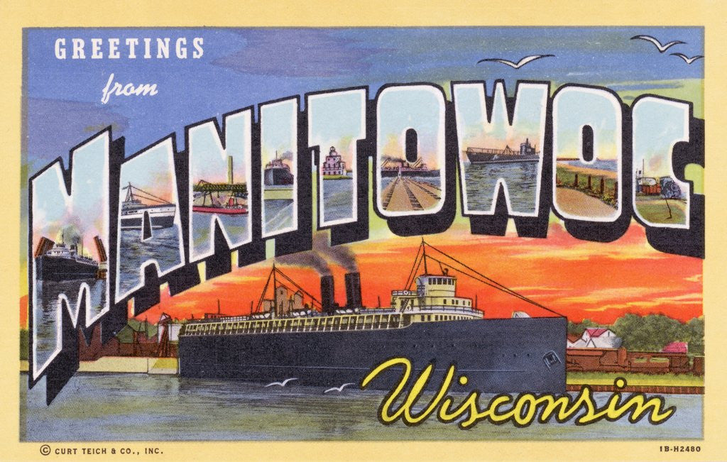 Detail of Greeting Card from Manitowoc, Wisconsin by Corbis