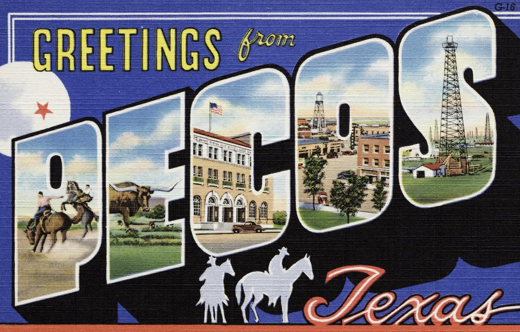 Detail of Greeting Card from Pecos, Texas by Corbis