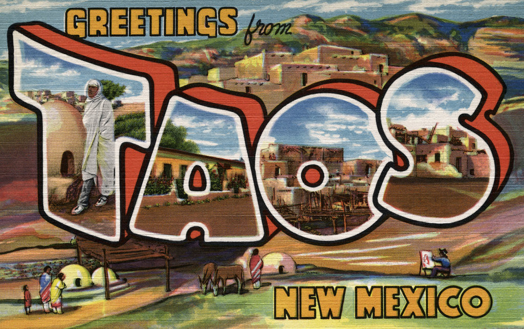 Detail of Greetings from Taos, New Mexico Postcard by Corbis