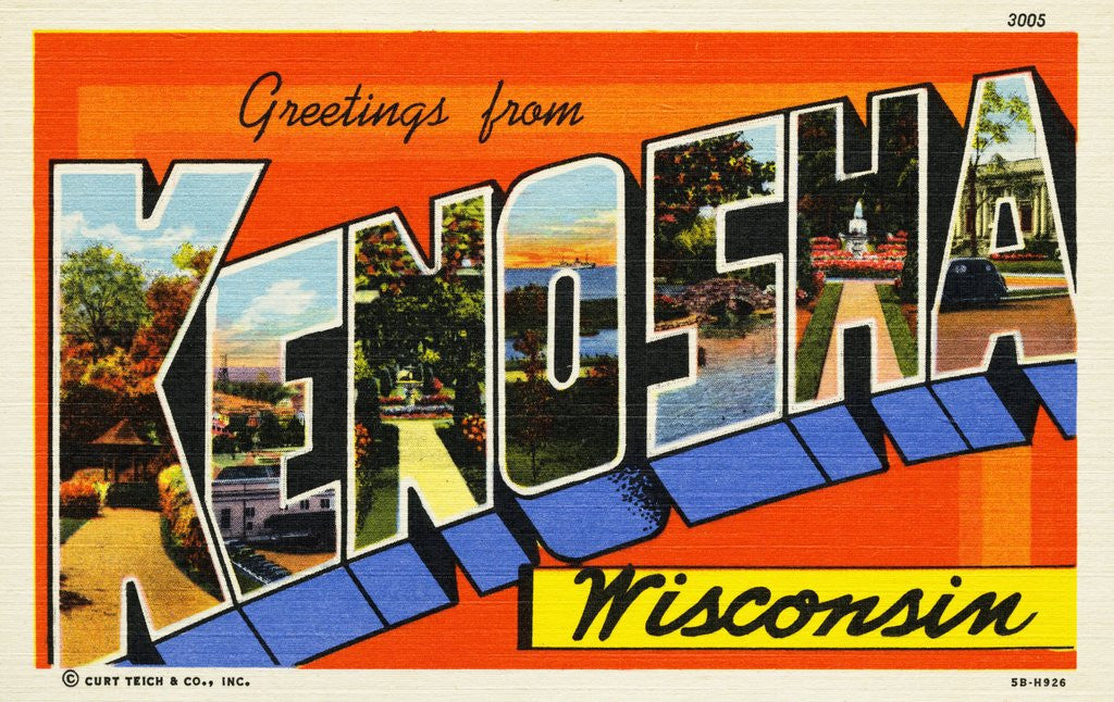 Detail of Greeting Card from Kenosha, Wisconsin by Corbis