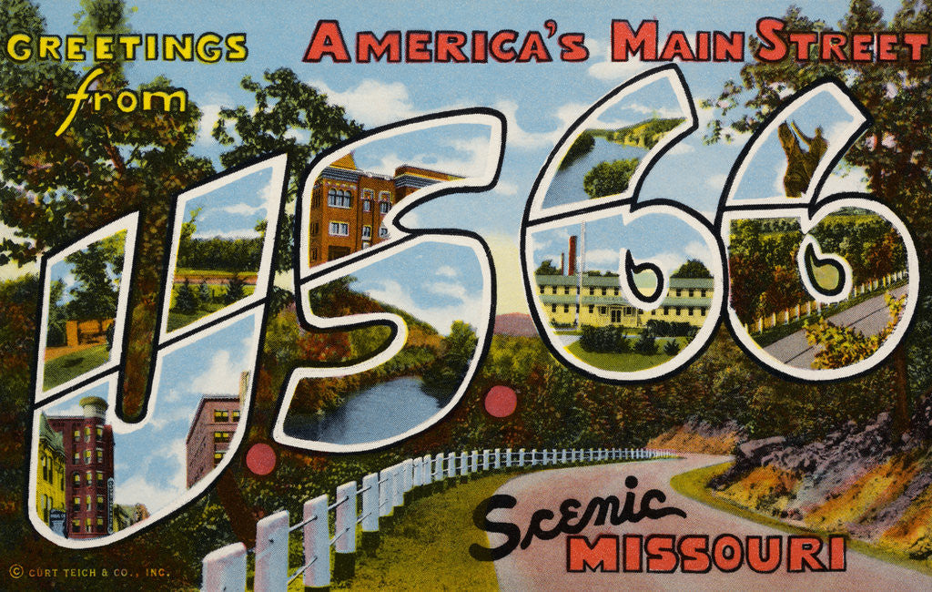 Detail of Greetings from U.S. 66 in Scenic Missouri Postcard by Corbis