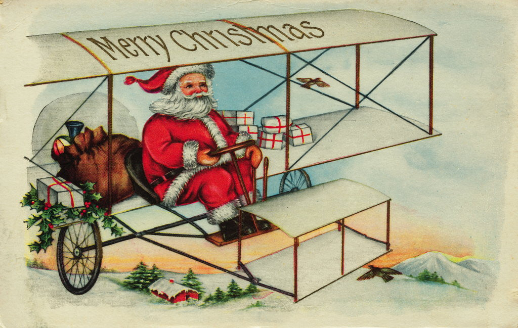 Detail of Postcard of Santa Claus Flying a Biplane by Corbis